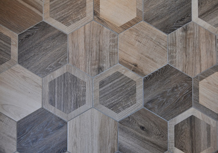 King Wood Nut Intarsio Hexagon Simply Tiles